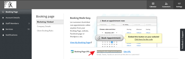booking page url for scheduling SetMore appointment