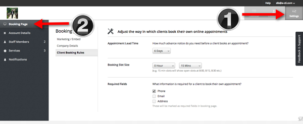 Click booking page to create appointment slots