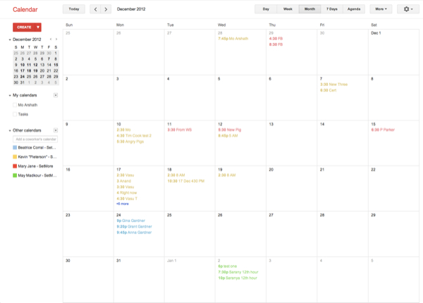Google calendar overview when synced with SetMore