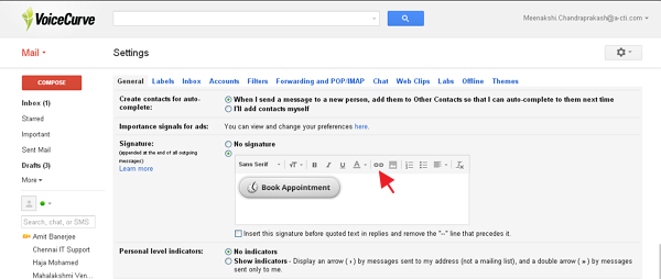 link gmail signature with SetMore booking button