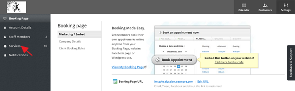 Click SetMore services